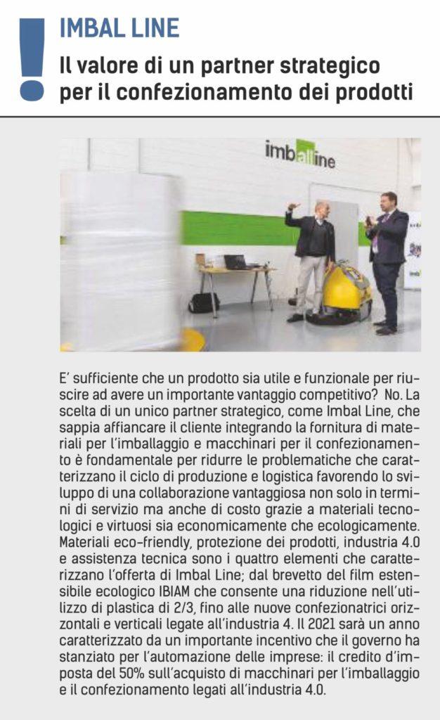 articolo del giornale bresciaoggi che analizza i nuovi trend degli imballaggi e dei confezionamenti
